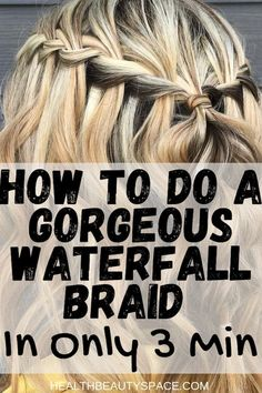 Learn here to do a wonderful waterfall braid in only 3 Min Box Braids Hairstyles, Braided Ponytail Hairstyles, Weekend Hairstyles, Concert Hairstyles, Winter Hairstyles, Black Hairstyles, Hairdos, Waterfall Braid Tutorial, Hairstyle