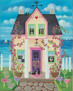 Etsy の Candy Hearts Cottage Folk Art Print by KimsCottageArt