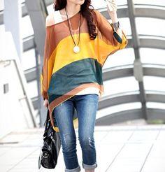 Women's Wide Striped Chiffon Tunic