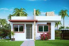 Casa Pequena, estilo moderna, com 53 m2, 2 quartos, BWC social, cozinha, sala de jantar e estar conjugada.