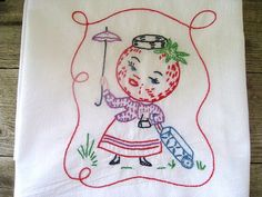 Vintage Kitchen Towel Floursack Towel by AWorkofHeartVintage, $8.95