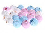 Bolita madera rayada 10 mm - Blanco, rosa y azul bebe - 30 ud