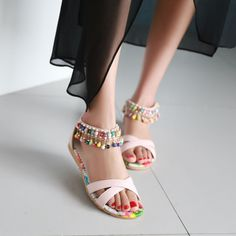 Fashion Back Zipper Sandals Women Flats Shoes 2414