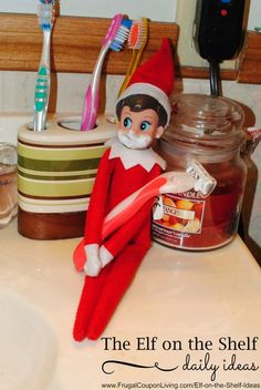 Dozens of Great The Elf on the Shelf Ideas found on Frugal Coupon Living. Elf shaves! Grab a razor and some shaving gel for this easy Elf on the Shelf Idea.