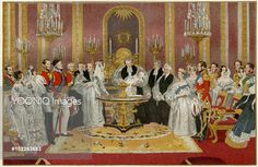 Princess Victoria, Princess Royal of Great Britain, Crown Princess of Prussia, later Empress of Prussia (1840 - 1901) pictured at her christening in 1840 in the Throne Room of Buckingham Palace. The ceremony was performed by the Archbishop of Canterbury, William Howley. Known as 'Vicky', she was the eldest child of Queen Victoria and Prince Albert. She married Crown Prince Friedrich Wilhelm of Prussia in 1859 and was the mother of Kaiser Wilhelm II.