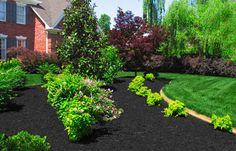 DIY Photo: Black Synthetic Mulch Garden, color paint ideas for . Black Synthetic Mulch Garden Black Mulch - Indian Island Farms Our b. Hillside Landscaping, Front Yard Landscaping, Landscaping Ideas, Black Mulch, Landscape Materials, Landscape Designs, Lawn Sprinklers, Garden Shrubs, Patio