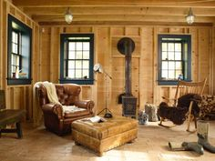 Rafe Churchill, The New Farmhouse, Mud Room with Natural Wood walls and Reclaimed Sawn Brick floor | Remodelista