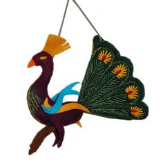 Forest Green Peacock Felt Holiday Ornament - Silk Road Bazaar (O) Women in Kyrgyzstan made this stunning peacock ornament by hand from felt. With a loop for hanging and embroidered accents, the ornament's tail measures 8 inches across with a 5-inch tall bird.