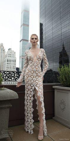 fe94c56af513 inbal dror 2016 wedding dress with v neck long sleeve crochet sheath  wedding dress slit skirt