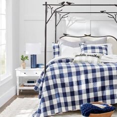 Arbor Bed | Grandin Road Buffalo Check Fabric, Floral Comforter, Grandin Road, Bed Styling, Inspired Homes, Online Furniture, Bedroom Furniture, Outdoor Furniture, Bed Frame