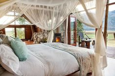 Mosaic Lagoon Lodge offers the ultimate private getaway, with just 5 safari-style suites hidden among ancient Milkwood trees on the edge of the Hermanus Lagoon. A stay at the lodge will immerse guests in bird life of the Cape Floral Kingdom, lagoon cruises, stunning beaches, fascinating marine life, and some of the world's most beautiful Winelands. All meals, Mosaic activities and house beverages are included. Walk In Robe, Luxury Accommodation, World's Most Beautiful, Lodges, Mosaic, Bed, House, Furniture, Marine Life