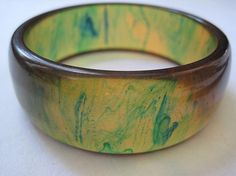 Vintage Bakelite Bangle  Apple Juice  Blue by VintageInBloom, $110.00