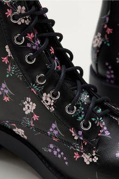 Ghete până la gleznă - Negru/cu flori - FEMEI | H&M RO 2