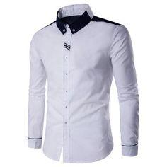 Contrast Panel Long Sleeve Button Down Shirt