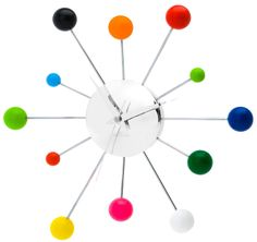 Present Time Karlsson Wall Clock Mixed Spider Multi Color Steel Chrome -  #DiaperscomNursery