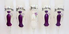 Bridesmaid Wine Glasses – Glasses are uniquely hand painted to replicate your dress and details of your wedding – by SAM Designs – www.samdesigns.net, $20