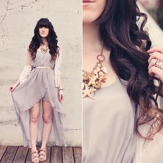Seashell Necklace, Lavender Chiffon Dress, Floral Crown   NYMPH DRESS (by Ashlei Louise .)   LOOKBOOK.nu
