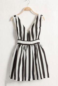 Black Stripe Dark-V High Waist Tank Dress. SheInside.