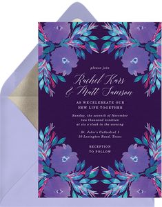 Fully customizable invitations violet florals purple wedding that wow. Easily create, send & track your dreamy flora invitations online. Unique designs from independent artists. Online Invitations, Purple Wedding, Florals, Reception, Design, Floral, Flowers, Receptions