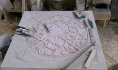 Chicago Botanical Garden compass being hand carved of Indiana limestone by ArgyleCutStone.com