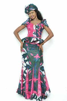 Jupe et haut impression de rose et de vert par NewAfricanDesigns
