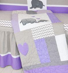 Crib Blanket Elephant Baby Boy Bedding Gray by Customquiltsbyeva