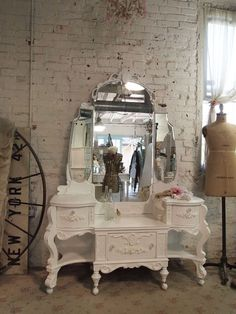 Painted Cottage Chic Shabby Romantic Vanity VAN by paintedcottages, $1095.00