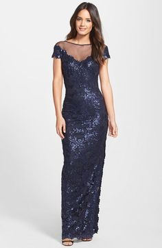 Tadashi Shoji Cap Sleeve Sequin Lace Embroidered Gown on shopstyle.com