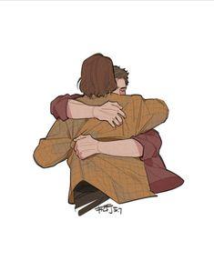 """cyberdelph: """"Hug by s-wyzs """" Supernatural Drawings, Supernatural Pictures, Supernatural Fan Art, Castiel, Buffy, Teen Wolf, Vampire Diaries, Hugging Drawing, Sherlock"""