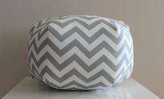 18 Ottoman Pouf Floor Pillow Grey White Zig Zag by aletafae, $90.00