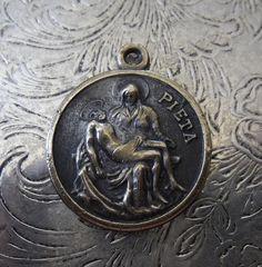 Rare Bronze Vintage 1940's Italian Pieta Holy Medal, With Saint Christopher Protect Us Travelers, Religious Catholic Medallion