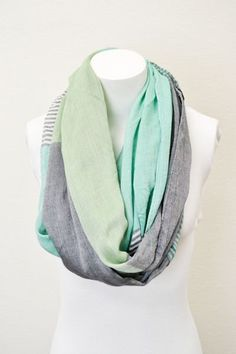 Mint Pashmina Infinity Scarves with Pastel Stripes Color Blocking Spring Colors Scarves, Infinity Scarves, Pashmina Scarves, Infinity Scarf