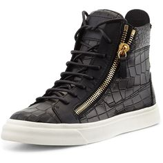 Giuseppe Zanotti Crocodile-Print High-Top Sneaker ($695) ❤ liked on Polyvore featuring shoes, sneakers, nero, flat sneakers, hi tops, giuseppe zanotti sneakers, leather flat shoes and high top shoes