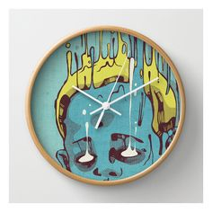 The Blue Boy With Golden Hair Wall Clock ($30) ❤ liked on Polyvore featuring home, home decor, clocks, wall clocks, blue home decor, battery wall clock, battery powered wall clock, battery powered clock and blue wall clock