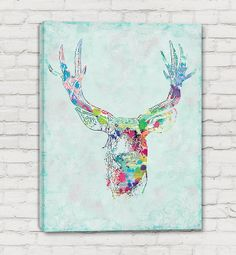 Deer Art - Stretched Canvas Print - Deer Watercolor Mixed Media Art Painting by RobynGoughDesigns | Flickr - Photo Sharing!
