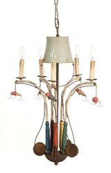 Beach and Lake House Home Decor Metal Chandelier with Fishing Poles, Lures and Bucket Decor, Decor Collection, Tiffany Style Table Lamps, Eclectic Decor, Eclectic Furniture, Lake Living, Home Decor, Chandelier, Metal Chandelier
