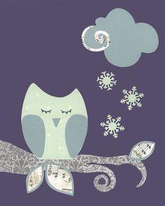 this would be easy too!  Owl Nursery Art, Sleepy Owl, Woodland nursery, Gray Purple Bird Children's Art, baby room decor, bathroom decor, Snowflake Kids Wall Art. $17.00, via Etsy.    Girl??? - I don't know how I feel about the purple.