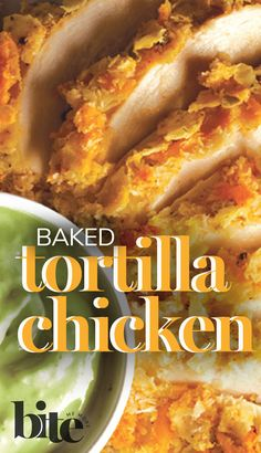 Looking for a chicken recipe that'll turn your family dinner into a fiesta? You've found it. Not only is this Baked Tortilla Chicken delectably juicy, crusted in crunchy tortillas and cheesy cheddar, but it's also served with a creamy avocado dip full of Southwestern flavors. Â¡Ay, caramba! #mexicanrecipes #easyrecipe #delicious