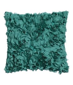 Satin cushion cover with decorative chiffon flowers and concealed zip. Size 16 x 16 in.
