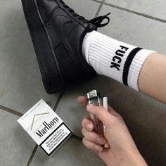 So Cheap!Check it's Amazing with this fashion Shoes! get it for 2016 Fashion Nike womens running shoes NIKE Womens Shox Classic II Running Shoe* Black/White/Anthracite . Pop Punk, American Apparel, Baby Popo, Malboro, Cigarette Aesthetic, Socks Outfit, Smoking Kills, Fotos Goals, Hipster