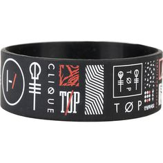 Twenty One Pilots Symbols Rubber Bracelet Hot Topic ($5.60) ❤ liked on Polyvore featuring jewelry, bracelets, 1920s style jewelry, rubber bangles, 1920s jewelry, roaring twenties jewelry and rubber jewelry