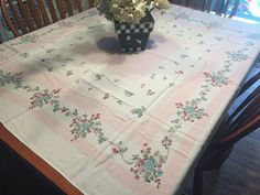 Vintage White with Pink Floral Printed Kitchen by MarlenesAttic