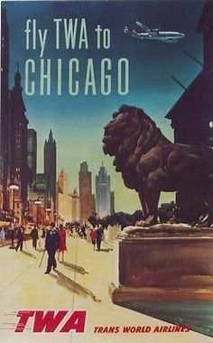 Original vintage poster CHICAGO LION SUPER CONNIE TWA 55