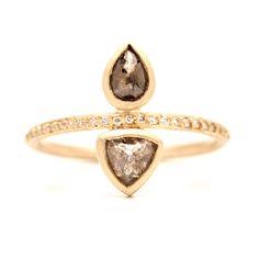 Double Pear Rosecut Pavé Ring
