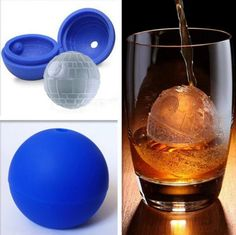 """These Star Wars Death Star molds are a """"cool"""" way to enjoy any beverage. Made of high quality, body-safe silicone, you'll make a perfect mold every time. May the force be with your drink! Features: -"""