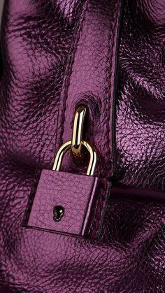 Burberry Prorsum Small Metallic Leather Bowling Bag