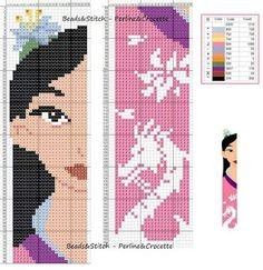 Cross stitch chart Disney Princess  Mulan bookmark