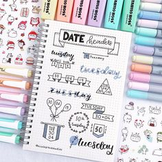 Date header ideas/inspiration for your bullet journal and study notes! Date header ideas/inspiration for your bullet journal and study notes! Bullet Journal School, Bullet Journal Headers, Bullet Journal Banner, Bullet Journal Aesthetic, Bullet Journal Notebook, Bullet Journal Ideas Pages, Bullet Journal Layout, Bullet Journal Inspiration, Bullet Journal Markers