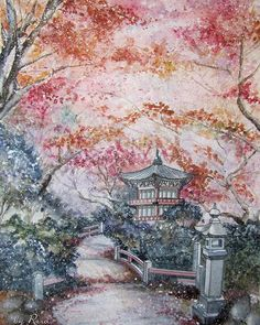 (@rera_artist) Instagram:  #illustration #drawing #painting #graphic #art  #watercolor #japan #pagoda #temple #korea #한국 #architecture #momiji #maple #rerasart #artbyrera #autumn #fall #그림 #드로잉 #수채화 #스케치 #아름다운 #단풍 #inspiring #orientalart #акварель #арт #рисунок #осень #корея #иллюстрация #графика #вдохновение #красныйклен #сеул #кпоп