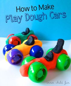colorful caps- that twist off of apple sauce or baby food pouches-to make play dough cars-brilliant!!